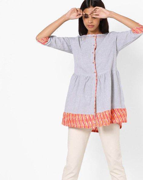 Striped Flared Tunic With Contrast Hems By AJIO ( Offwhite )