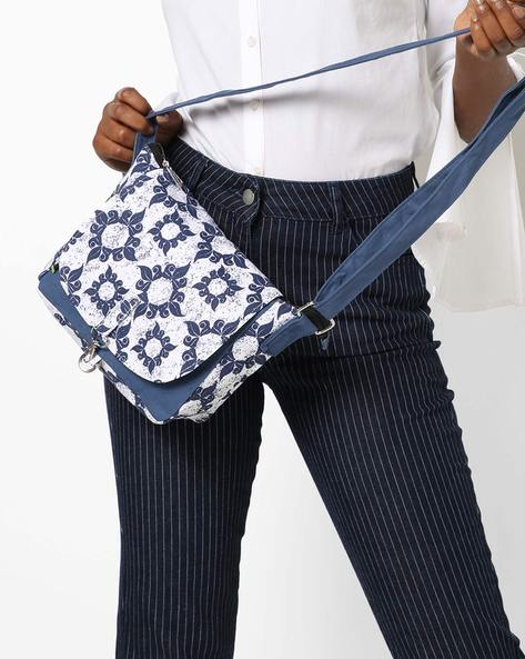 Printed Canvas Sling Bag By Kanvas Katha ( Navy )