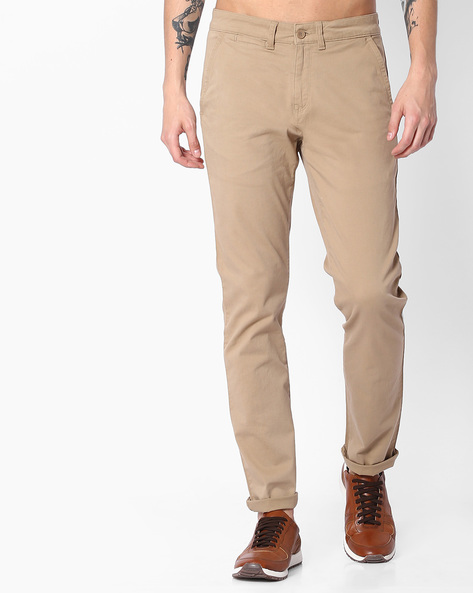 Tapered Fit Mid-Rise Trousers By Blue Saint ( Beige )