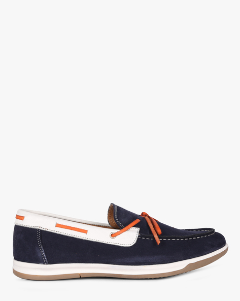 Slip-On Casual Shoes With Tie-Up By Acuto ( Navy )