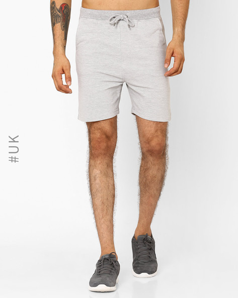 Cotton Ribbed Shorts With Tie-Up By Another Influence ( Grey )