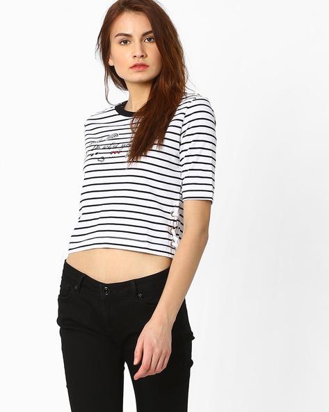 Cropped Striped T-shirt By AJIO ( White )