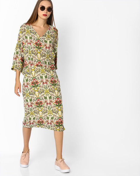 Floral Print Midi Dress By AJIO ( Offwhite )