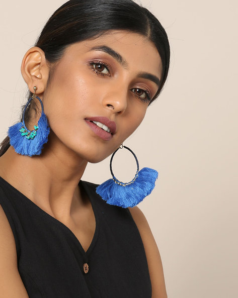 Fringe Earrings With Beads By Indie Picks ( Blue )