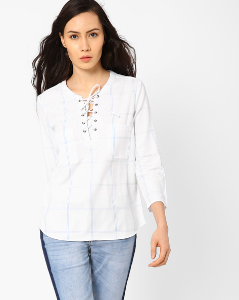 Yarn-Dyed Lace-Up Checked Top By AJIO ( White )