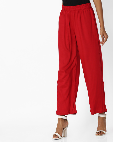 Palazzos With Elasticated Waist By OVI ( Red )
