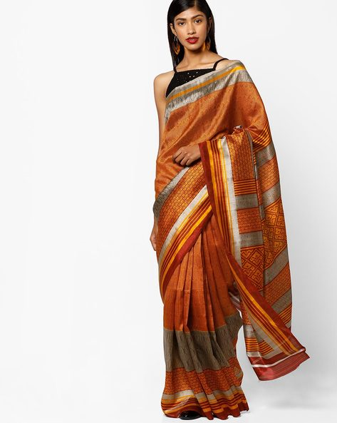 Printed Bhagalpuri Silk Saree By Florence ( Grey )