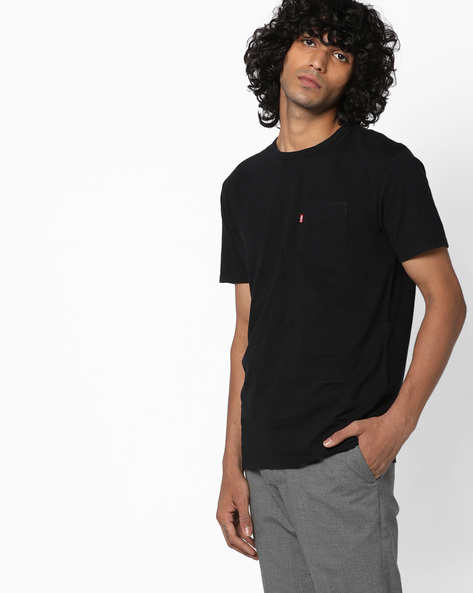 Knitted T-shirt With Flap Pocket By LEVIS ( Black )