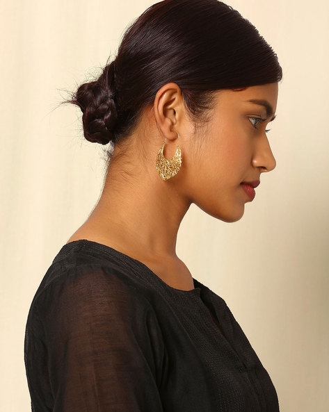 Gold Plated Filigree Hoop Earrings By Indie Picks ( Multi )