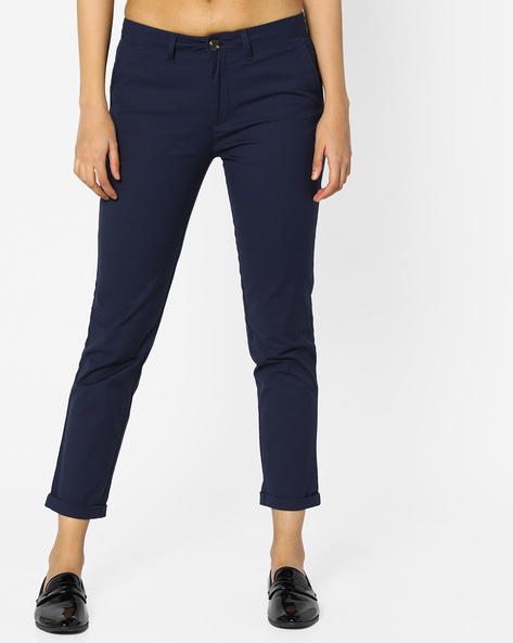 Ankle-Length Pants With Upturned Hems By Project Eve WW Casual ( Navy )
