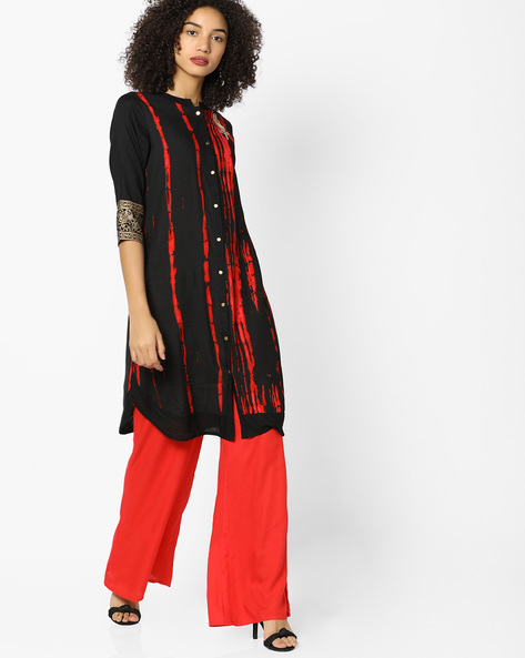 Printed Straight Kurta With Embroidery By FUSION ( Black )