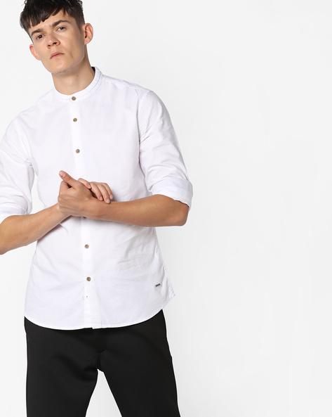 Slim Fit Shirt With Mandarin Collar By AJIO ( White )