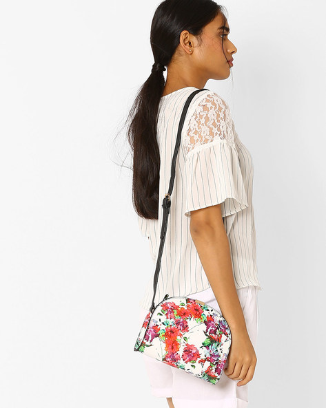 Floral Print Sling Bag By AJIO ( White ) - 460018067001