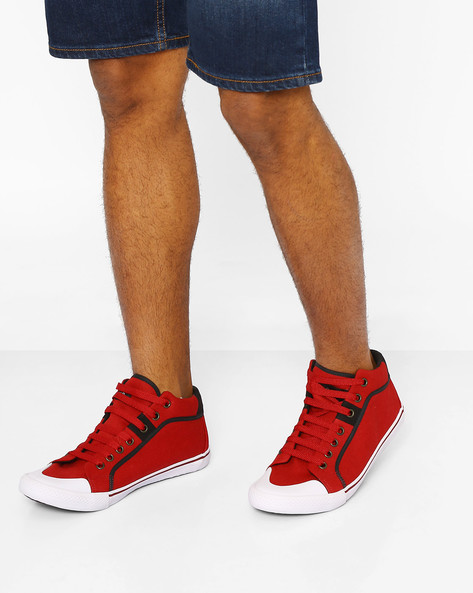 Mid-Top Canvas Sneakers By AJIO ( Red )