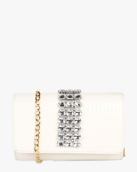Minaudiere Clutch With Crystal Embellishments By E2O ( White )