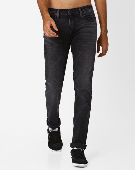 511 Slim Fit Jeans With Whiskers By LEVIS ( Black )