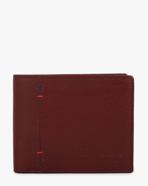 Textured Leather Bi-Fold Wallet By TEAKWOOD LEATHERS ( Wine )
