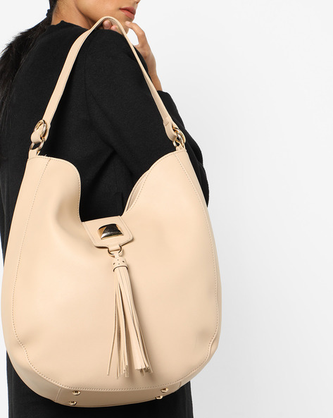 Hobo Bag With Zip Closure By 20Dresses ( Beige )