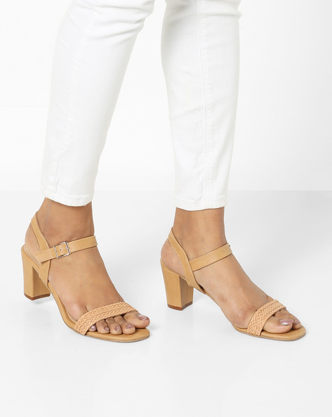 Heeled Sandals With Buckle Closure By AJIO ( Beige )