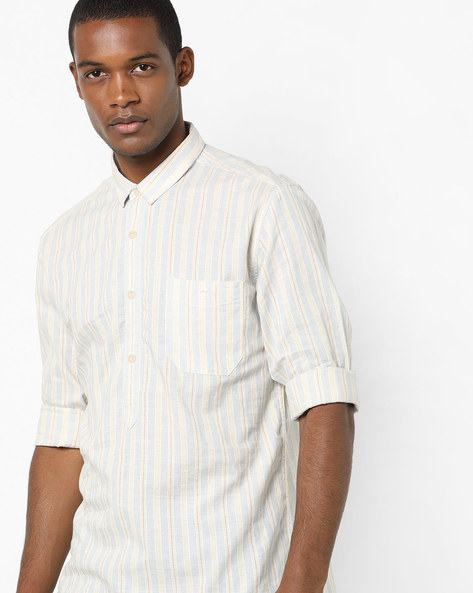 Striped Shirt With Patch Pocket By VOI JEANS ( Lightblue )