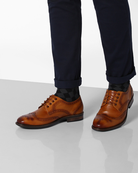 Genuine Leather Brogue Derby Shoes By TEAKWOOD LEATHERS ( Tan )
