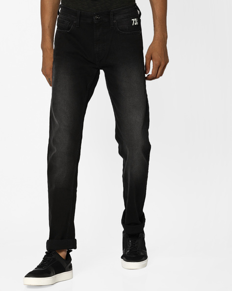 Mid-Wash Slim Fit Jeans By Pepe Jeans ( Black )