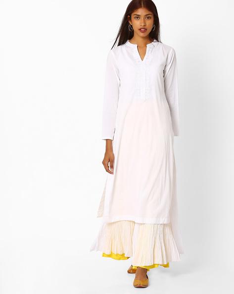 Straight Layered Kurta With Embroidery By Khimsariya ( White )