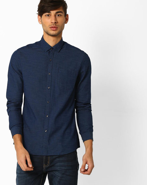 Dotted Regular Fit Shirt By NETPLAY ( Navy )