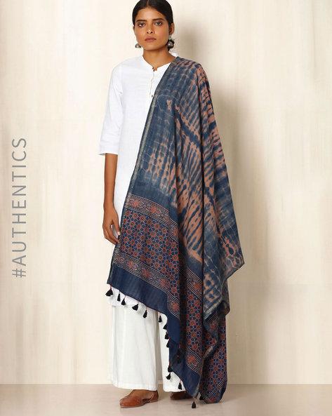 Ajrak Handblock Print Shibori Cotton Dupatta By Indie Picks ( Indigo ) - 460045135001