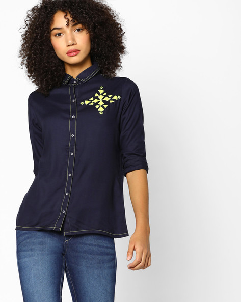 Shirt With Applique Motifs By Indian Ink ( Navy )