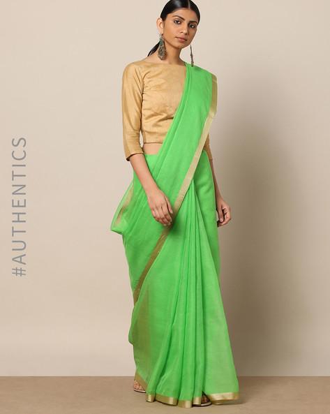 Handloom Pure Silk Cotton Saree With Zari Border By Indie Picks ( Green )
