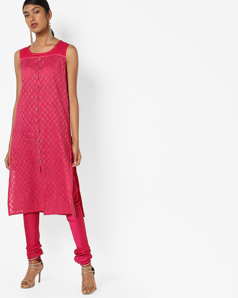 Printed Sleeveless Straight Kurta By AJIO ( Fuchsia )