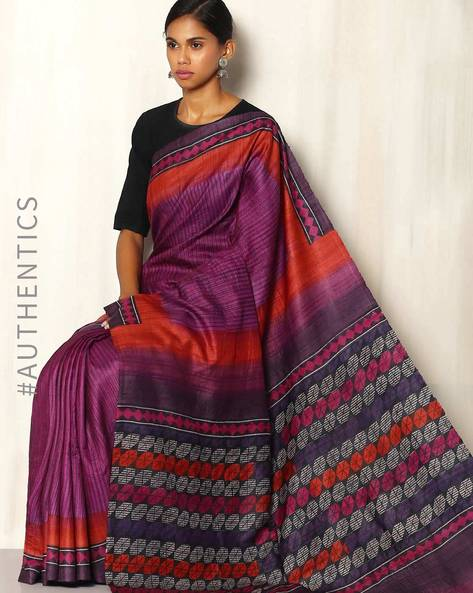 Handblock Print Pure Silk Desi Tussar Handloom Saree By Sujata Weaves And Prints ( Purple )