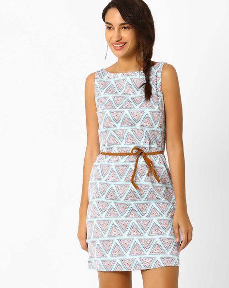 Printed Belted Dress By AJIO ( Teal )