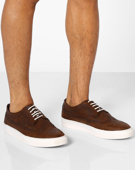 Faux-Leather Sneakers With Broguing By AJIO ( Brown )