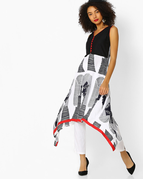 Printed A-line Kurta With Dipped Hem By Aaboli ( White )