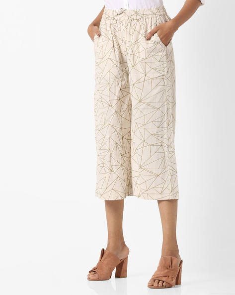 Printed Culottes With Elasticated Waist By Project Eve IW Casual ( Offwhite )