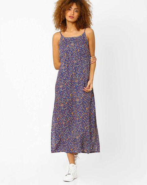 Floral Print Maxi Dress By AJIO ( Blue )