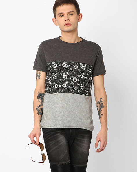 Colourblock Crew-Neck T-shirt By AJIO ( Darkgrey )