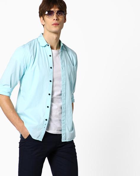 Fil-A-Fil Cotton Shirt By WRANGLER ( Blue )