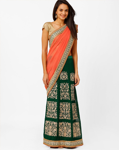 Embroidered Lehenga Saree By Akoya ( Orange )