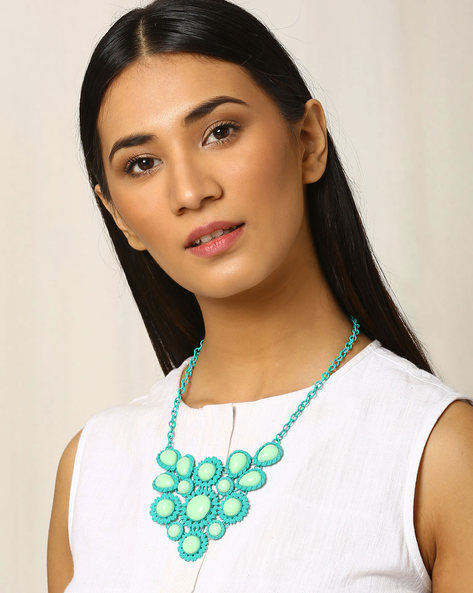 Beaded Metal Necklace By Indie Picks ( Green )