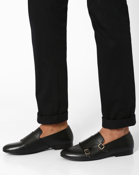 Leather Formal Shoes With Monk Straps By Modello Domani ( Black )