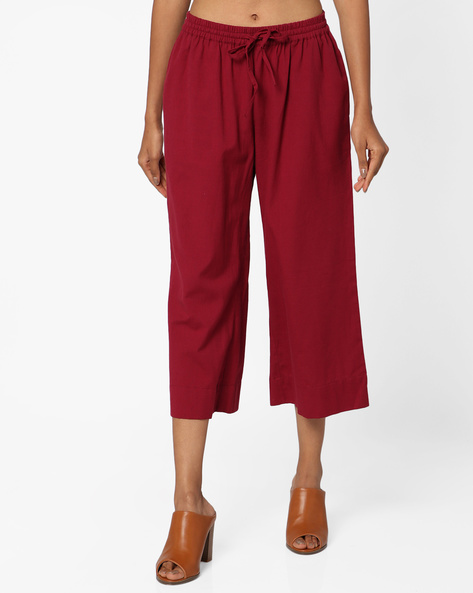 Mid-Rise Culottes With Drawstring Waist By Project Eve IW Casual ( Maroon )