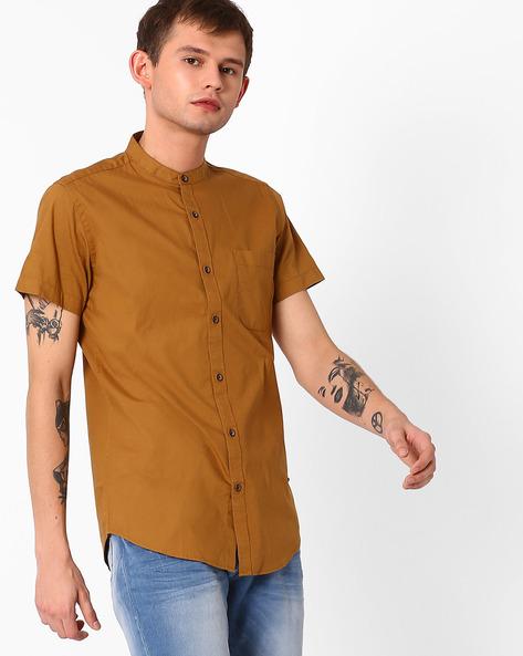 Casual Shirt With Mandarin Collar By ADAMO LONDON ( Mustard )