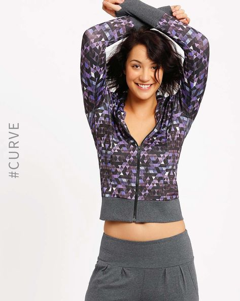 Printed Sweatshirt With Thumbhole Cuffs By AJIO ( Purple )