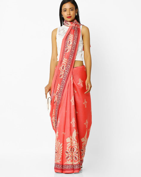 Printed Saree With Blouse By Florence ( Peach )