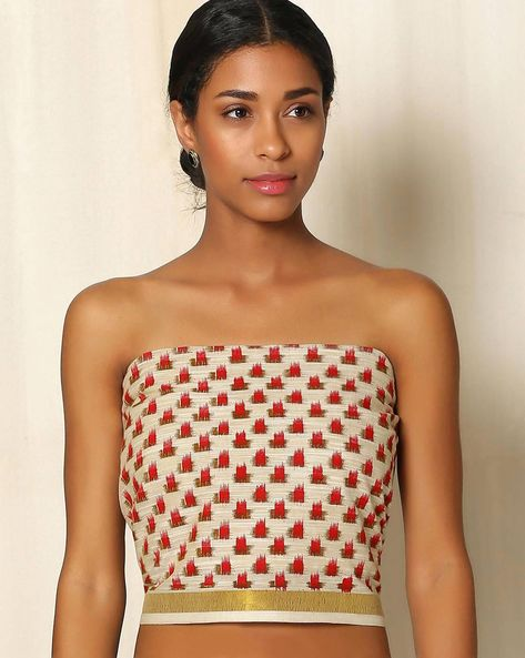 South Cotton Printed Blouse Fabric With Kerala Border By Indie Picks ( Multi ) - 460049255001