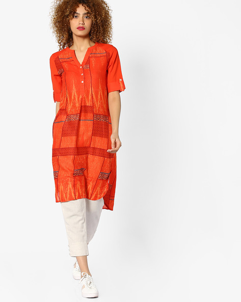 Printed Kurta With Button Placket By Global Desi ( Printed )