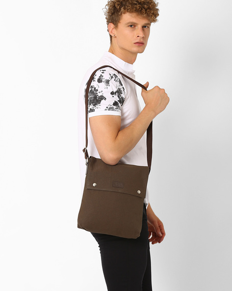 Canvas Messenger Bag By AJIO ( Olive )